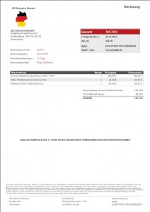 Fake-Rechnung der .DE Deutsche Domain
